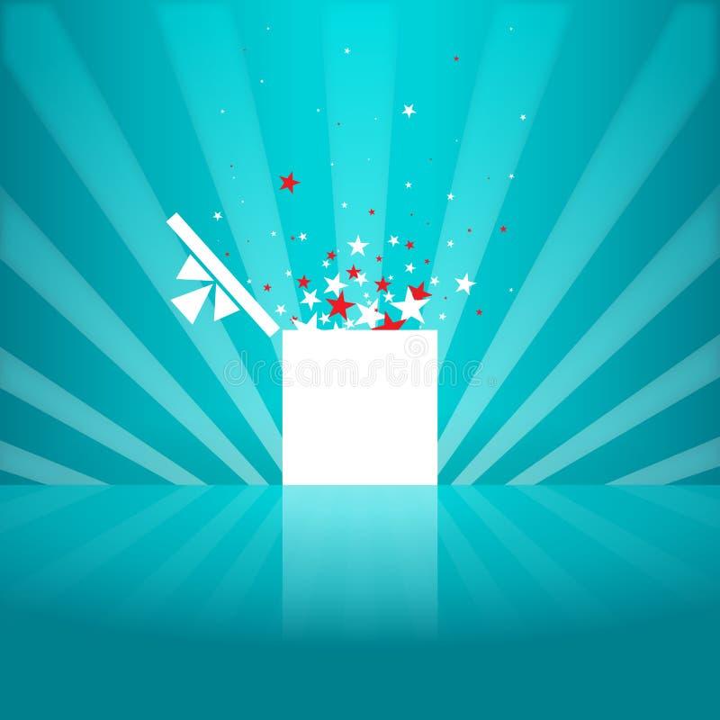 Boîte-cadeau de blanc d'étoile illustration de vecteur