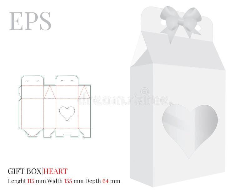 Boîte-cadeau de coeur avec le calibre d'arc, vecteur avec les lignes découpé/de laser avec des matrices coupe Blanc, clair, blanc illustration de vecteur