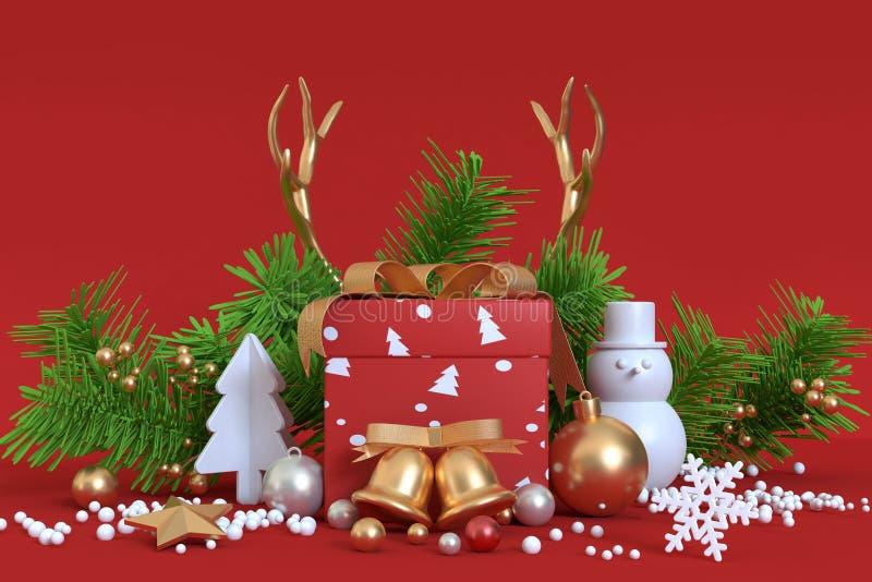 boîte-cadeau de fond de décoration-Noël de Noël d'objet abstrait photo stock