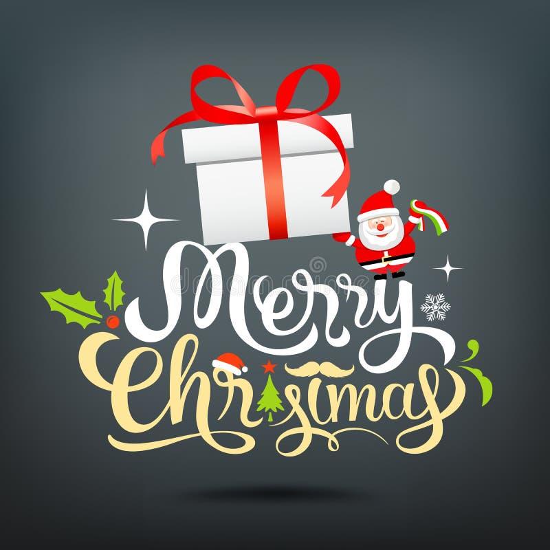 Boîte-cadeau de lettrage de carte de voeux de Joyeux Noël, le père noël illustration stock