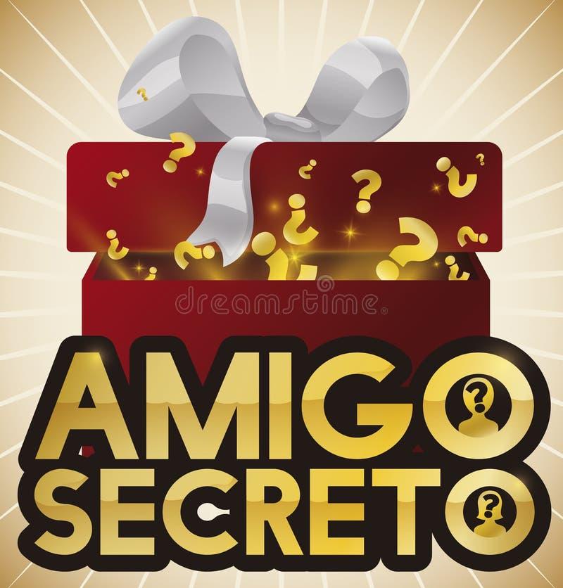 Boîte-cadeau de mystère pour le jeu secret d'ami, illustration de vecteur illustration de vecteur