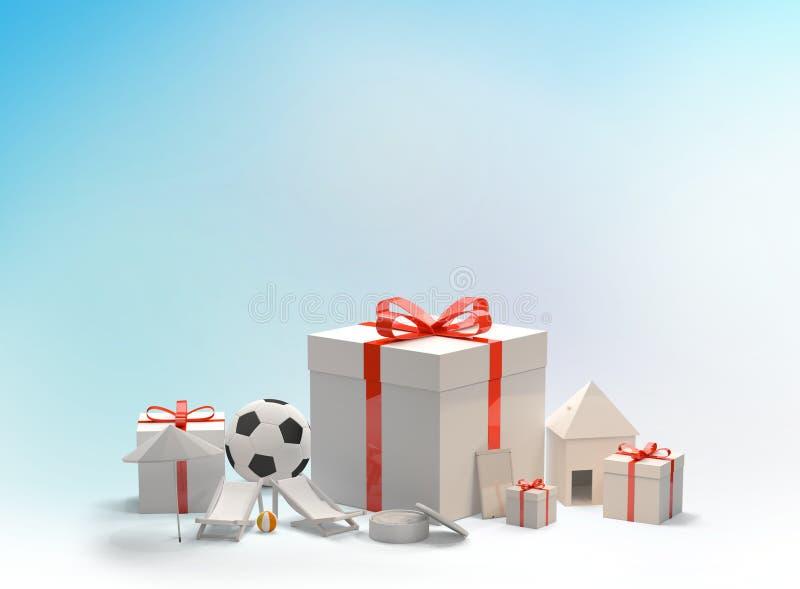 Boîte-cadeau de Noël avec l'arc avec du ballon de football un téléphone une peau illustration libre de droits