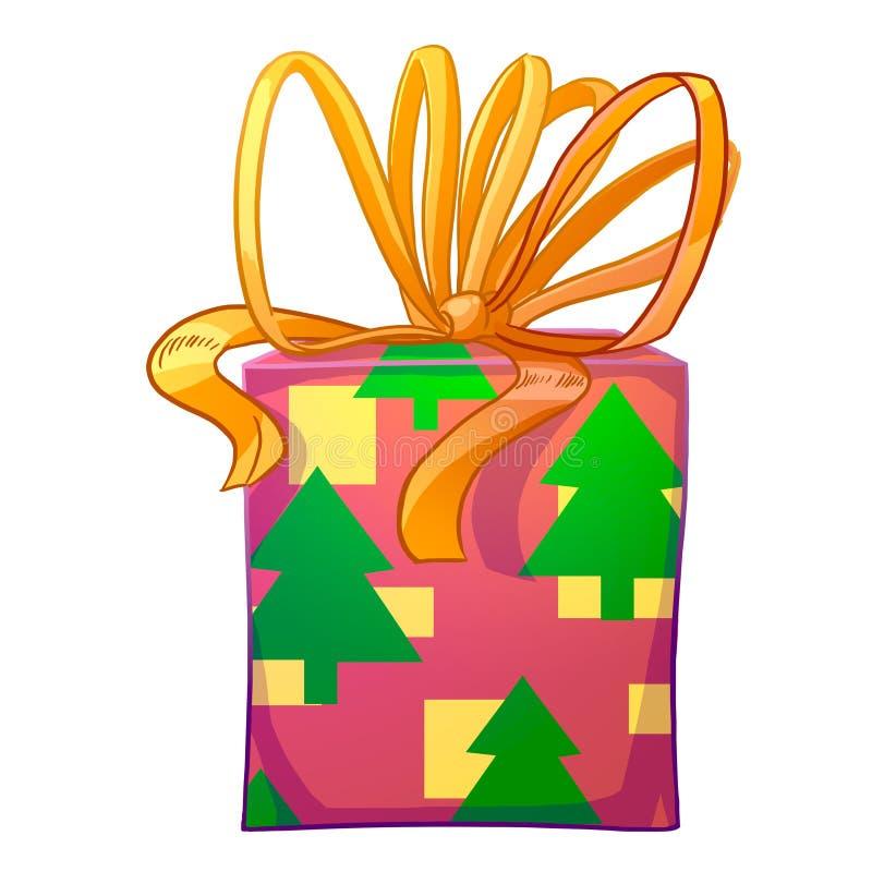 Boîte-cadeau de Noël avec l'arc jaune illustration libre de droits