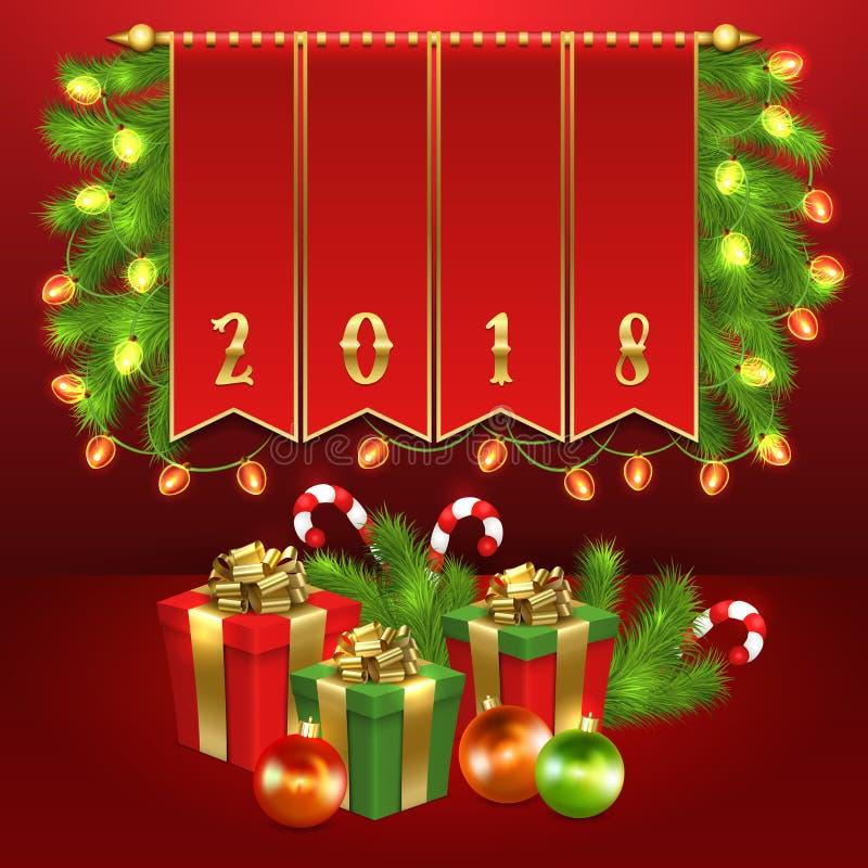 Boîte-cadeau de Noël, boule, sucrerie, guirlande, sapin illustration libre de droits