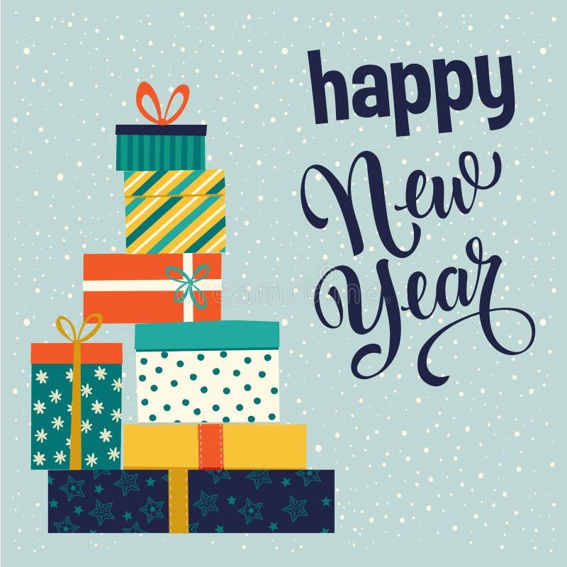 Boîte-cadeau de Noël et de bonne année Illustration de vecteur illustration de vecteur