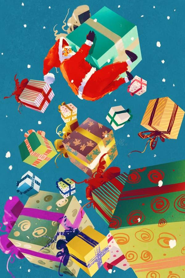 Boîte-cadeau de Santa Claus et de Noël tombant sur le fond bleu illustration de vecteur
