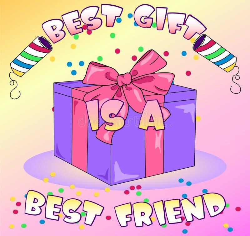 Boîte-cadeau de vecteur sur le fond coloré avec des confettis illustration libre de droits