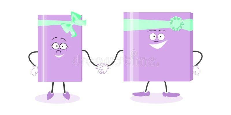 Boîte-cadeau du présent deux de cadeau pour tenir des mains le chef heureux de crabots mignons effrontés de personnage de dessin  illustration libre de droits