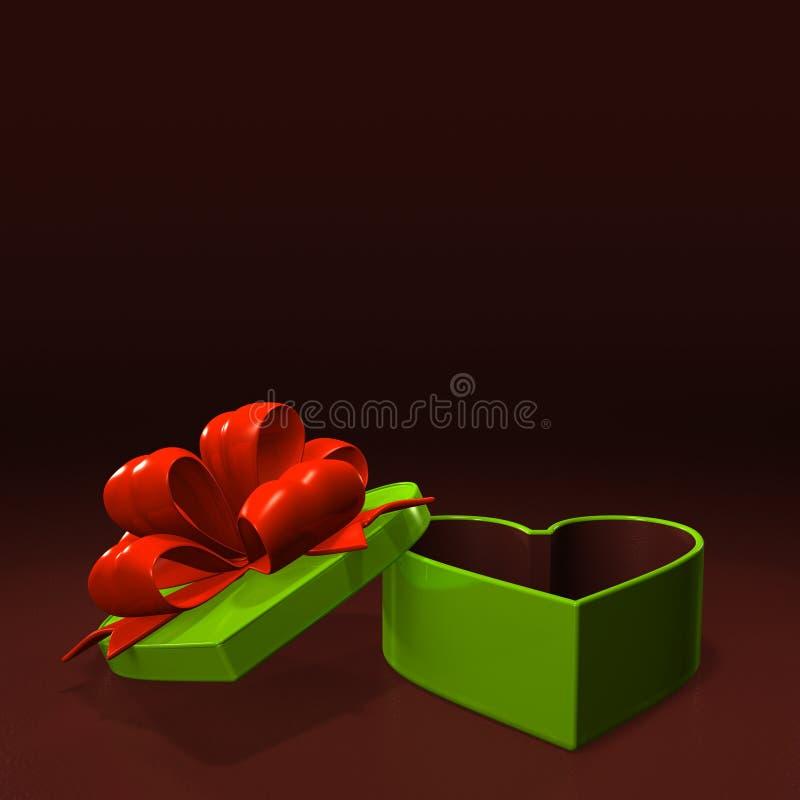 Boîte-cadeau en forme de coeur avec l'espace des textes illustration stock