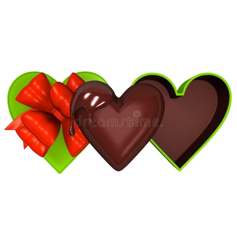 Boîte-cadeau en forme de coeur avec la vue supérieure de chocolat illustration libre de droits