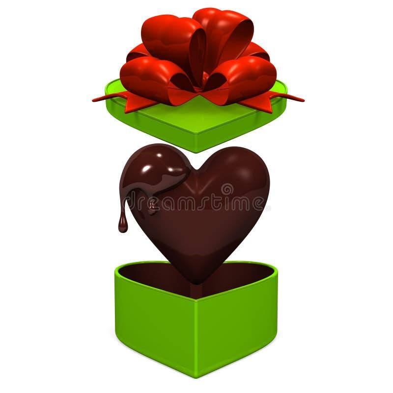 Boîte-cadeau en forme de coeur que le couvercle saute avec du chocolat Front View illustration libre de droits