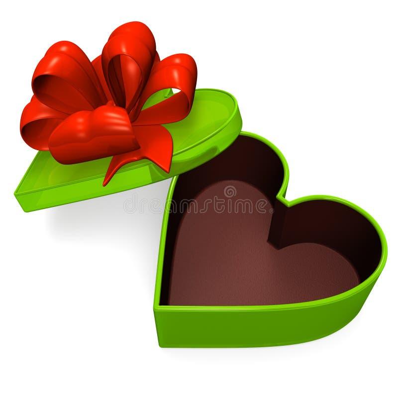 Boîte-cadeau en forme de coeur qui est vide illustration de vecteur