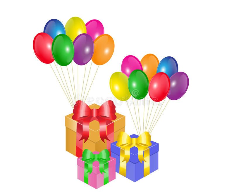 Boîte-cadeau et ballons illustration libre de droits