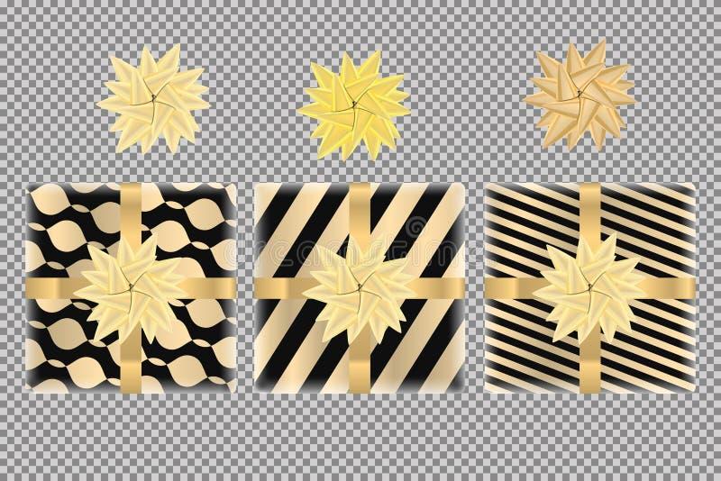Boîte-cadeau et ensemble de vue supérieure d'arcs, d'isolement sur le fond transparent Arc de rubans d'or sur le giftbox noir Con illustration de vecteur