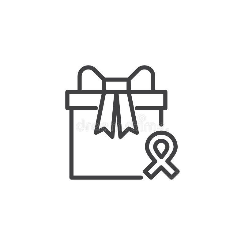 Boîte-cadeau et icône d'ensemble de ruban de conscience illustration libre de droits
