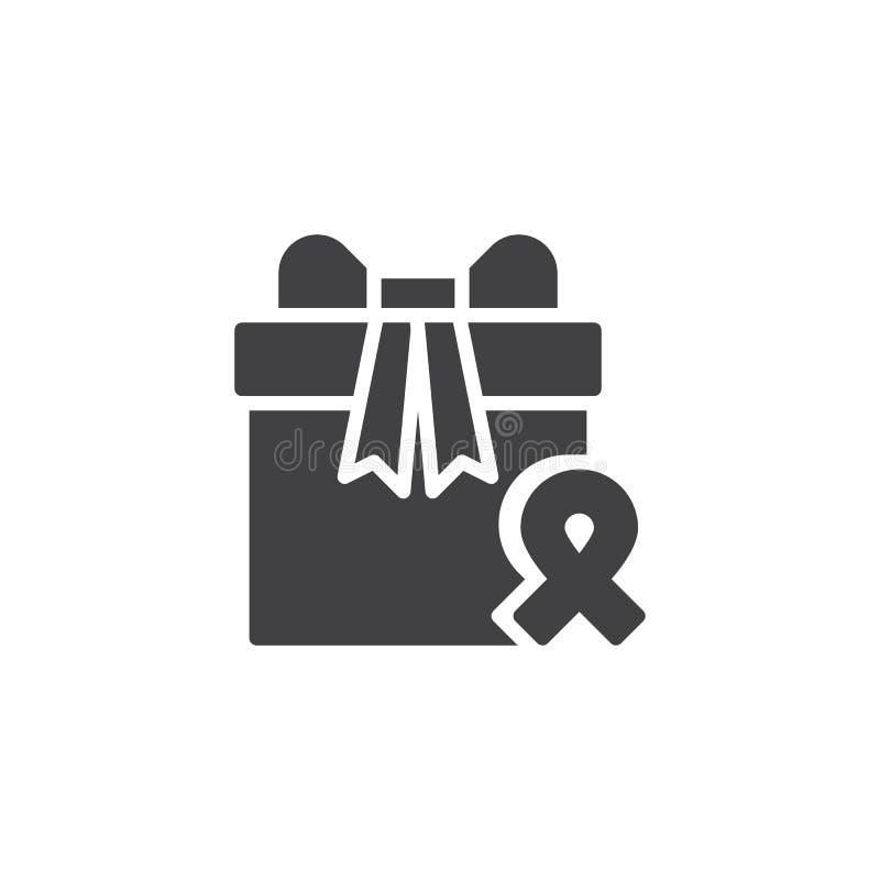 Boîte-cadeau et icône de vecteur de ruban de conscience illustration de vecteur