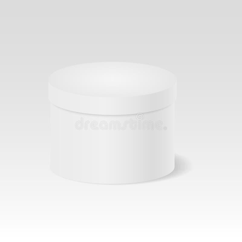 Boîte-cadeau fermé Boîte fermée ronde blanche module 3d cylindre Illustration de vecteur illustration stock