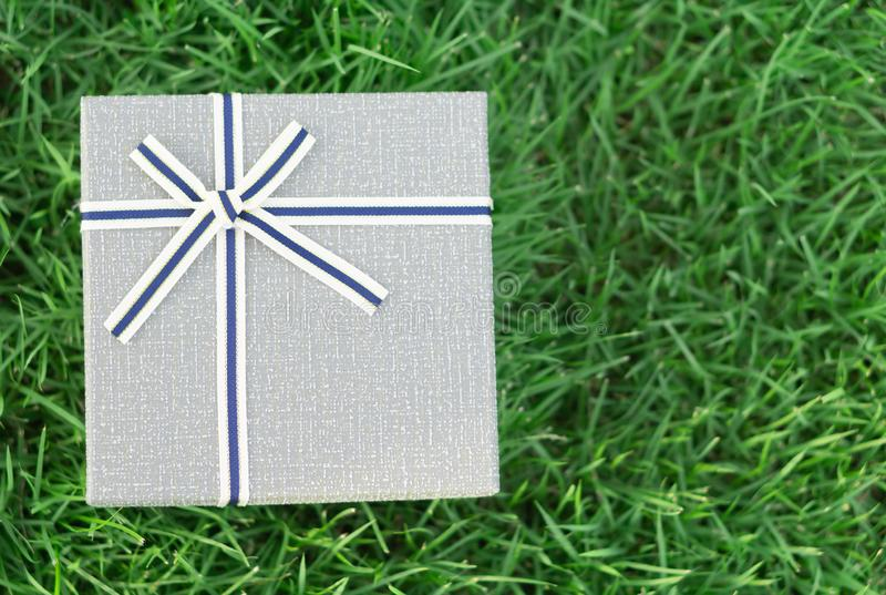 Boîte-cadeau gris avec le ruban sur l'herbe verte avec la lumière du soleil pendant le matin, foyer choisi photos stock