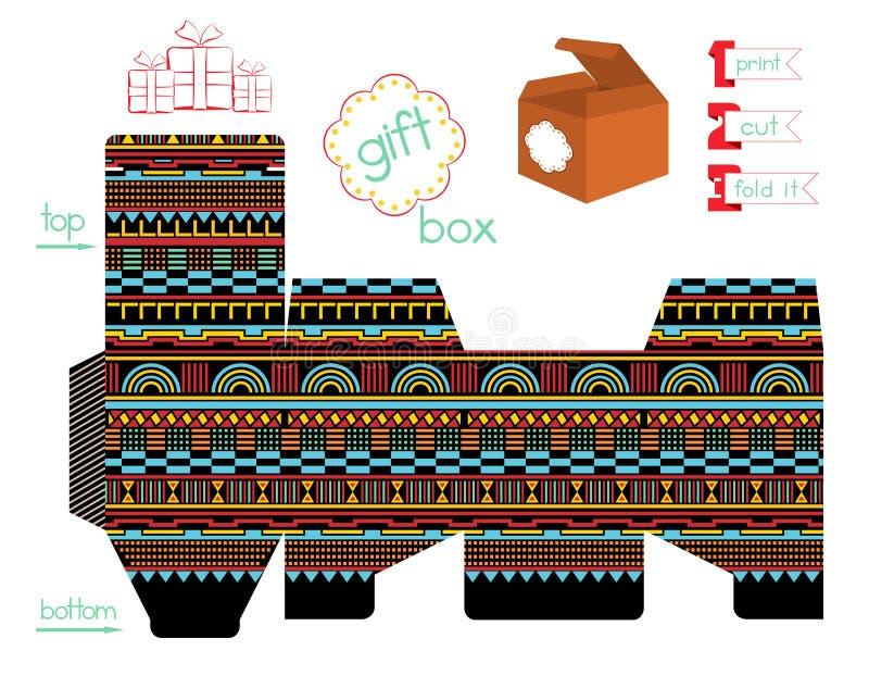 Boîte-cadeau imprimable avec le modèle géométrique illustration de vecteur