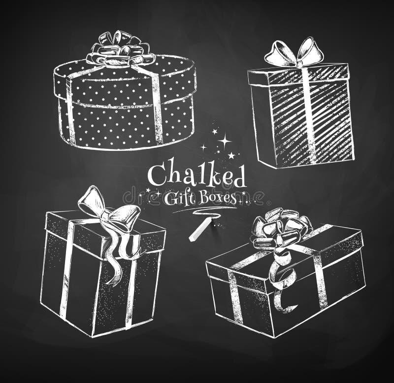 Boîte-cadeau marqués à la craie illustration libre de droits
