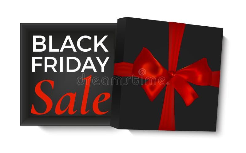 Boîte-cadeau noir ouvert avec le ruban rouge et l'arc réaliste, d'isolement sur le fond blanc Calibre d'affiche, de brochure ou d illustration libre de droits