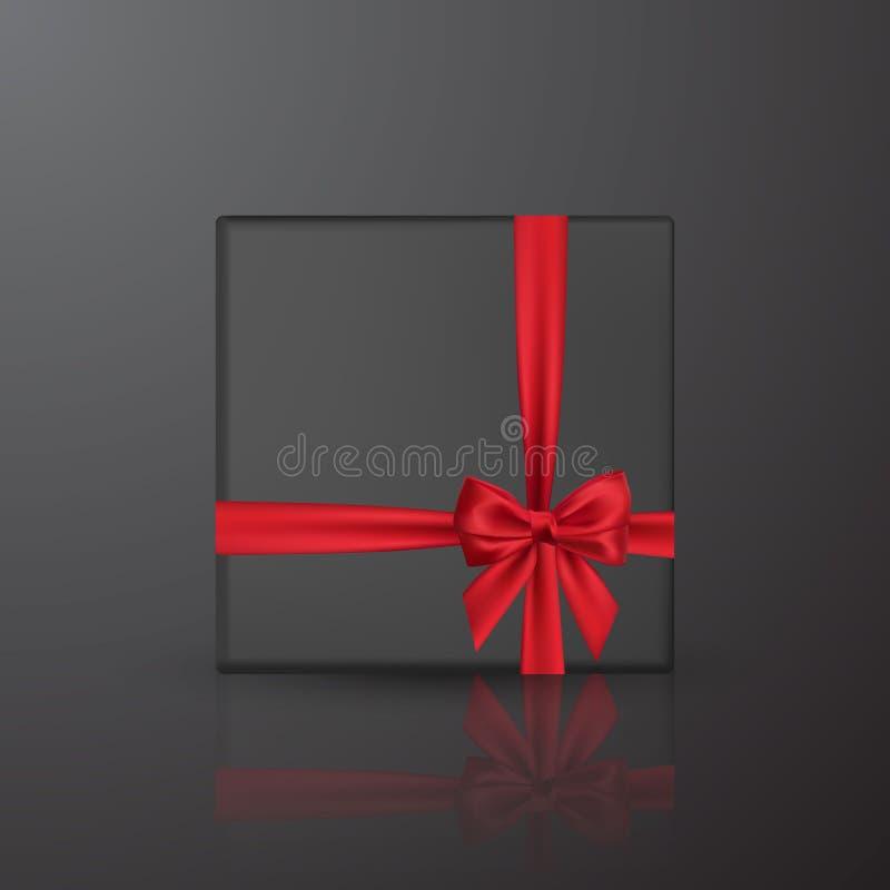 Boîte-cadeau noir réaliste avec l'arc et le ruban rouges Élément pour des cadeaux de décoration, salutations, vacances Illustrati illustration de vecteur