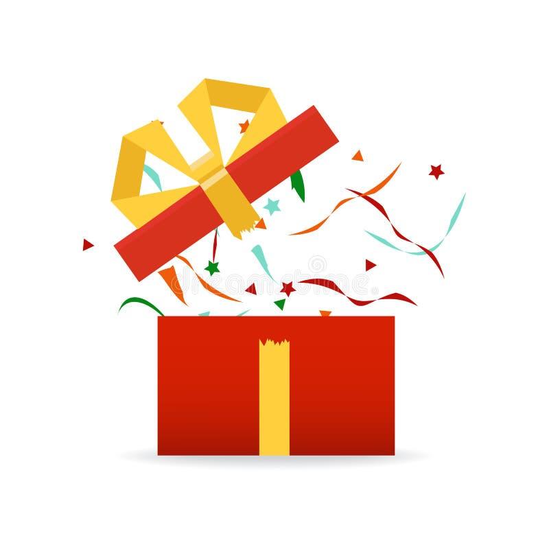Boîte-cadeau ouvert, concept de vacances d'anniversaire de surprise Vecteur illustration stock
