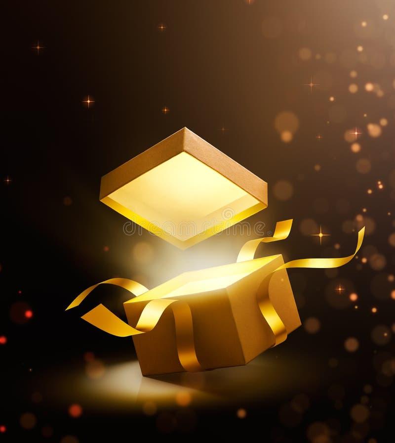 Boîte-cadeau ouvert d'or avec la lumière magique illustration libre de droits