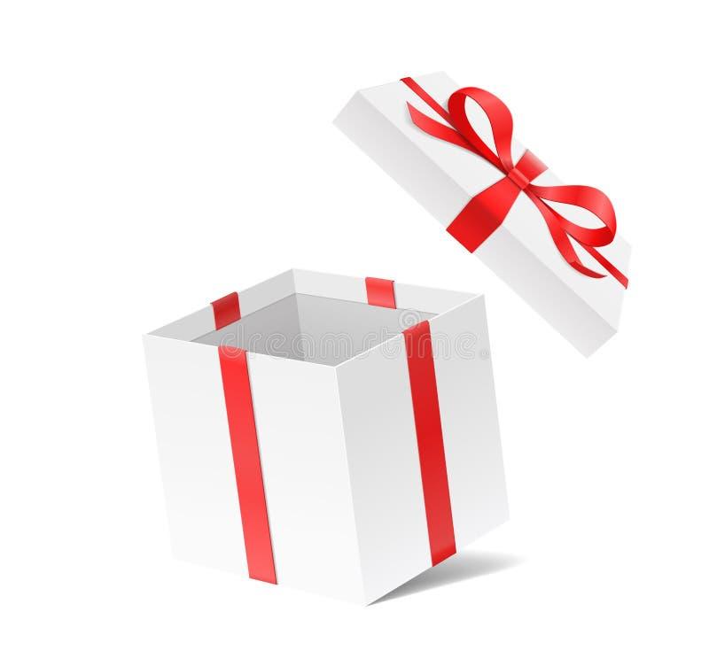 Boîte-cadeau ouvert vide avec le noeud d'arc de couleur rouge et ruban d'isolement sur le fond blanc illustration de vecteur