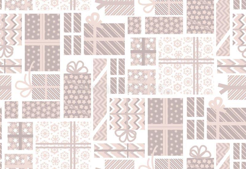 Boîte-cadeau pâle assorti de couleur An neuf heureux et Noël illustration stock