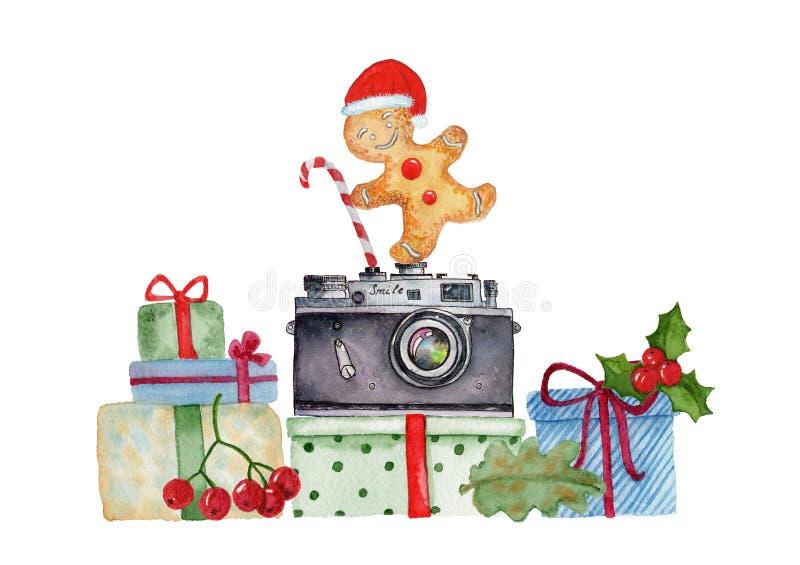Boîte-cadeau peints à la main de Noël d'aquarelle illustration de vecteur