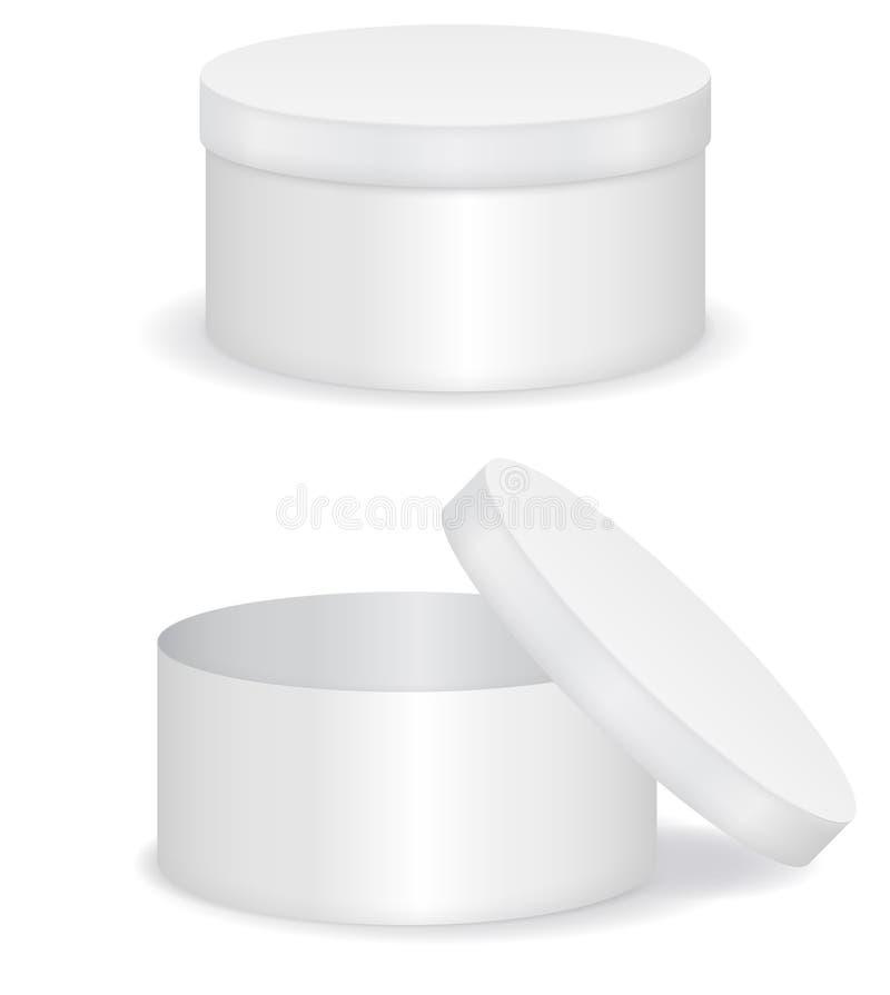 Boîte-cadeau rond blanc illustration libre de droits