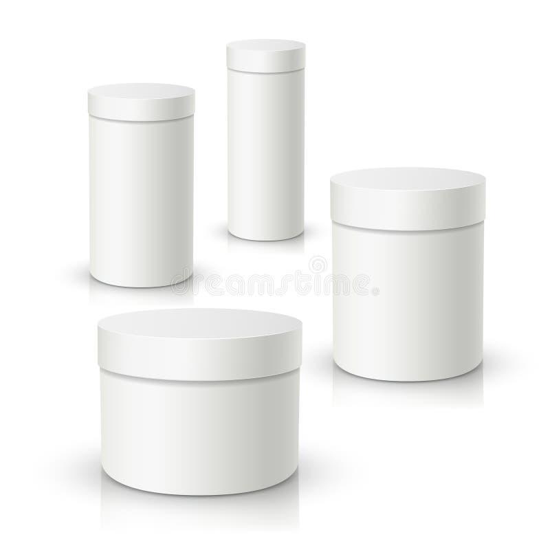 boîte-cadeau rond blanc du vecteur 3d, paquet de produit illustration libre de droits