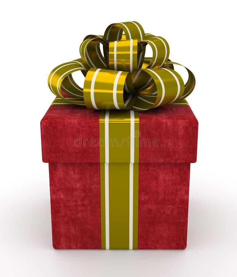 Boîte-cadeau rouge avec l'arc d'or d'isolement sur le fond blanc 2 illustration de vecteur