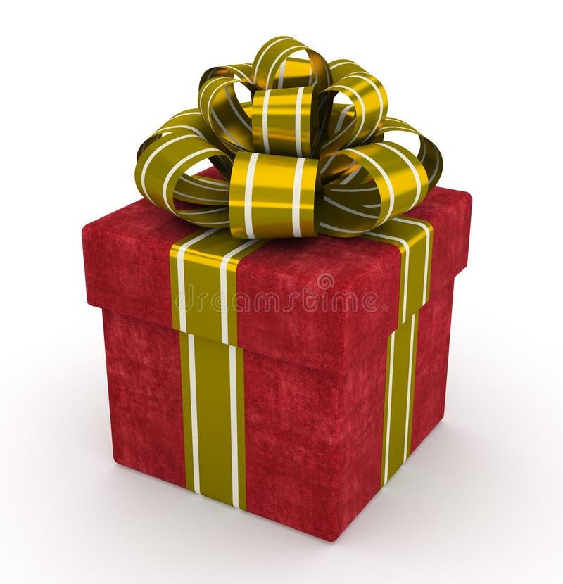 Boîte-cadeau rouge avec l'arc d'or d'isolement sur le fond blanc 5 illustration libre de droits