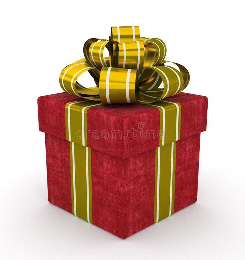 Boîte-cadeau rouge avec l'arc d'or d'isolement sur le fond blanc illustration stock