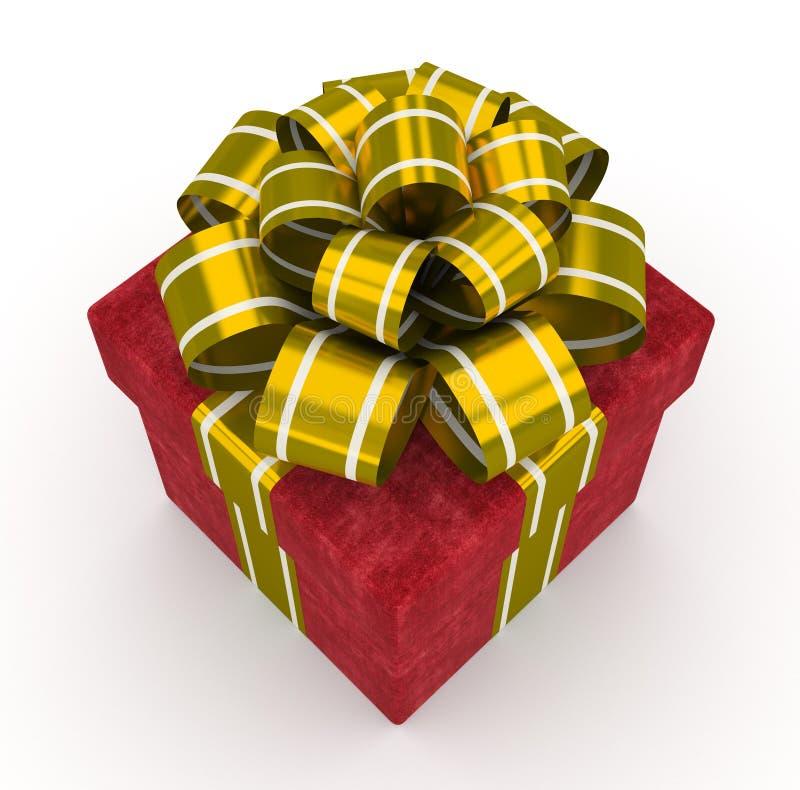 Boîte-cadeau rouge avec l'arc d'or d'isolement sur le fond blanc 4 illustration de vecteur
