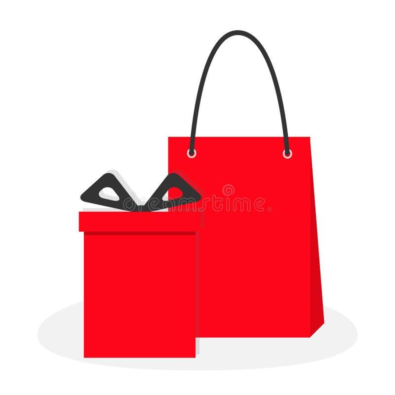 Boîte-cadeau rouge avec l'arc de ruban, panier de papier Ensemble de présent de Giftbox Symbole de signe de vente de Joyeux Noël  illustration de vecteur