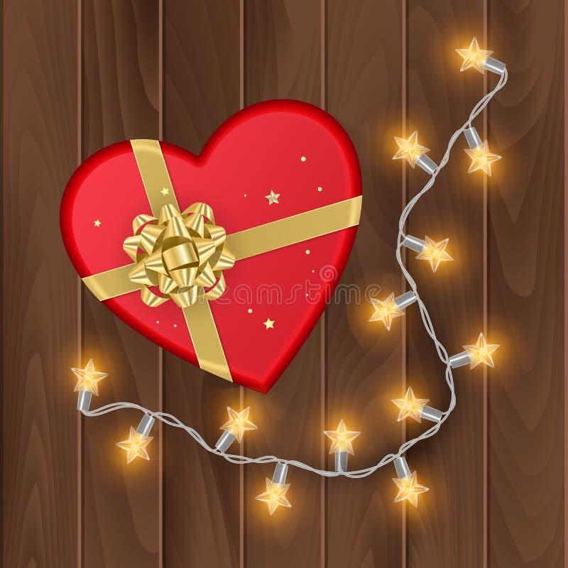 Boîte-cadeau rouge avec la forme du coeur, vous pouvez employer pour des cartes de jour de valentines, la vue supérieure, boîte-c illustration libre de droits
