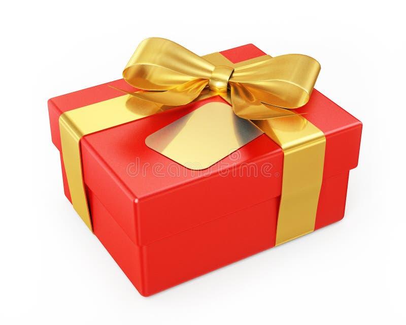 Boîte-cadeau rouge avec le ruban d'or d'isolement sur le fond blanc photos libres de droits