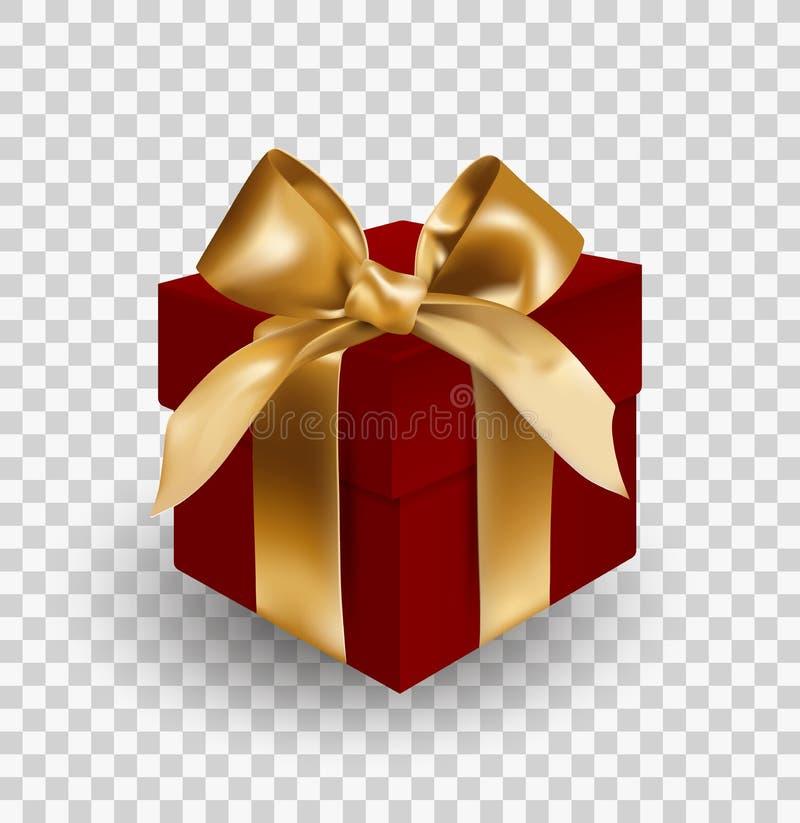 Boîte-cadeau rouge bandé avec l'arc élégant d'or avec le noeud Objet d'isolement sur le fond transparent Illustration réaliste de illustration stock