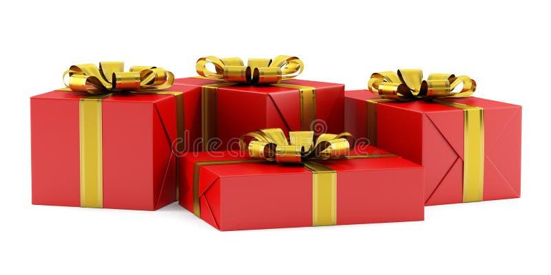 Boîte-cadeau rouges avec les rubans d'or sur le blanc illustration libre de droits