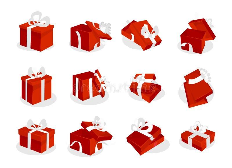 Boîte-cadeau rouges réglés avec les rubans blancs Icônes rouges ouvertes et fermées de boîte-cadeau d'isolement sur le fond blanc illustration stock