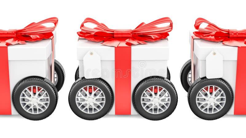 Boîte-cadeau sur des roues, concept de la livraison de cadeau rendu 3d illustration libre de droits