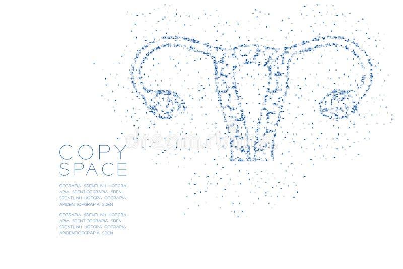 Boîte carrée de polygone géométrique abstrait de forme d'ovaire et d'utérus et modèle de triangle, couleur bleue de conception de illustration stock