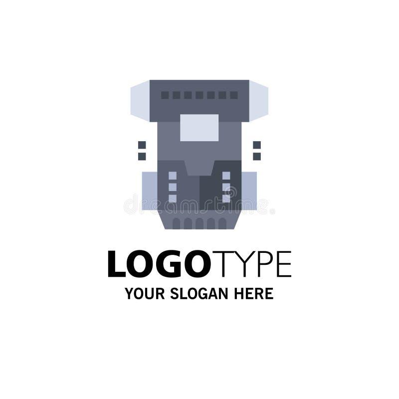 Boîte, chambre, cryogénique, cryogénisation, affaires Logo Template de Cryotherapy couleur plate illustration stock