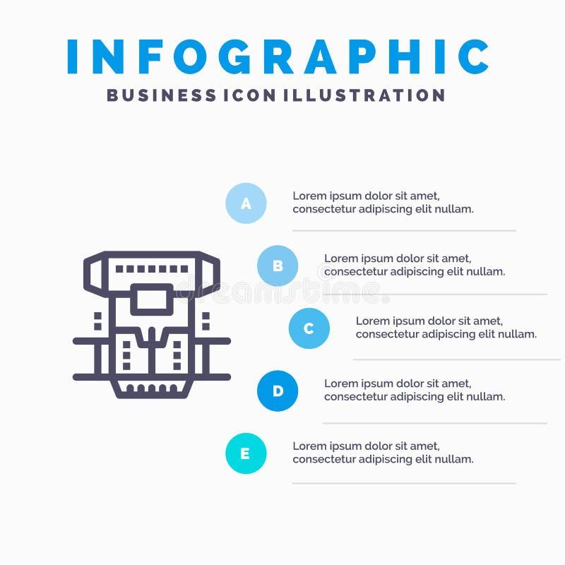 Boîte, chambre, cryogénique, cryogénisation, ligne icône de Cryotherapy avec le fond d'infographics de présentation de 5 étapes illustration de vecteur