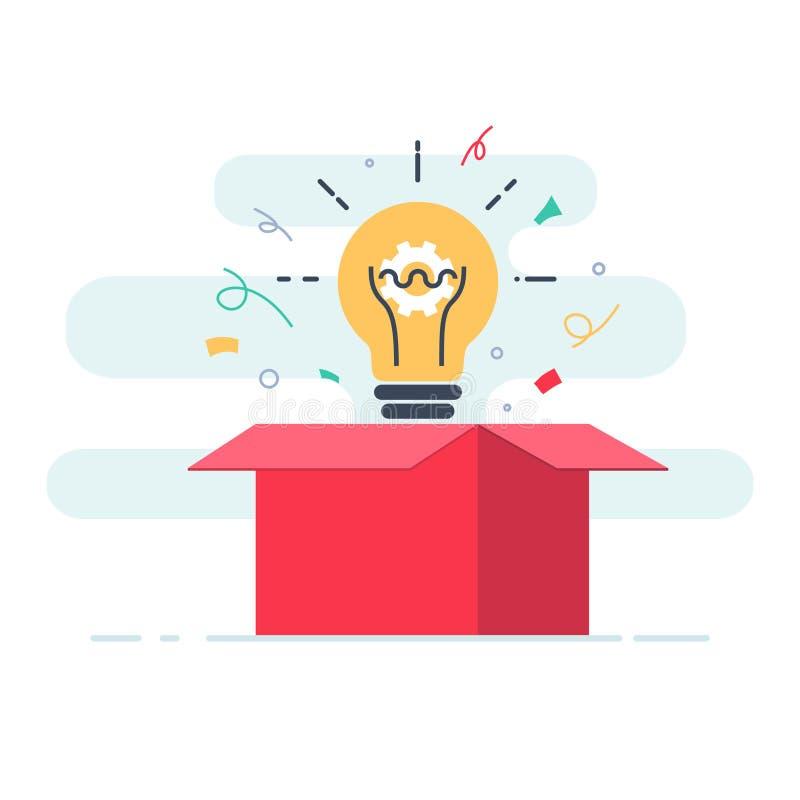 Boîte créative Pensez en dehors du concept de boîte, d'imagination, de créativité et d'échange d'idées illustration de vecteur