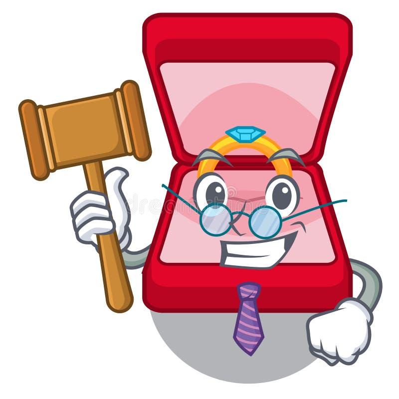 Boîte d'anneau de mariage de juge dans le sac de caractère illustration stock