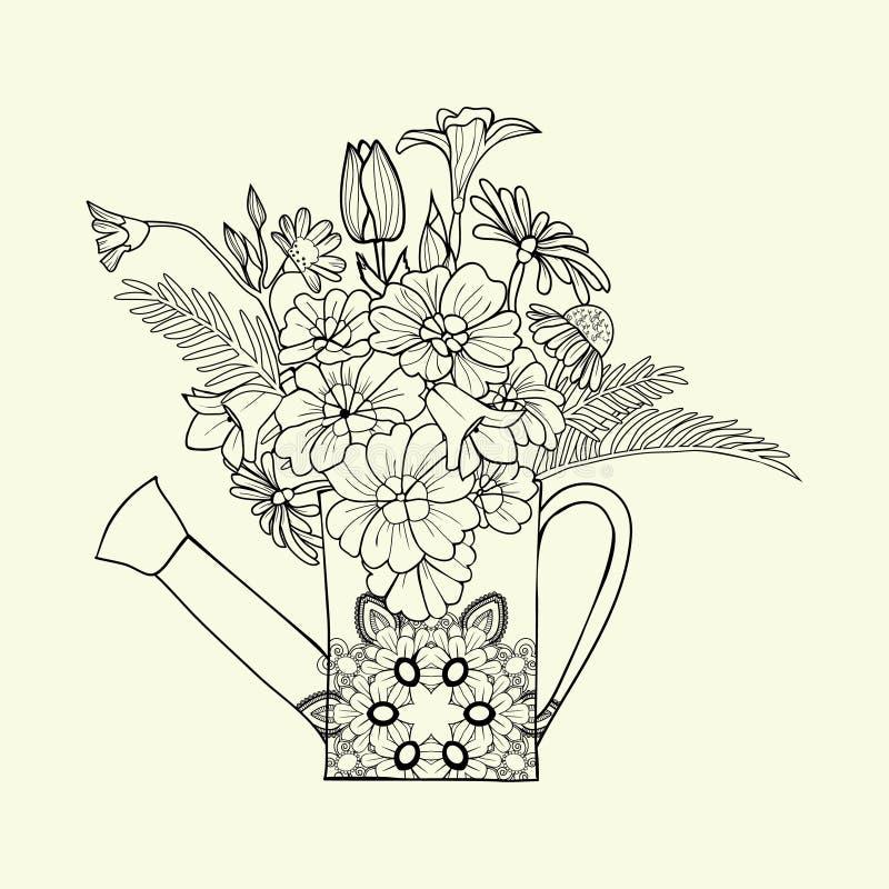 Boîte d'arrosage décorée tirée par la main d'image avec la fleur et l'herbe illustration de vecteur